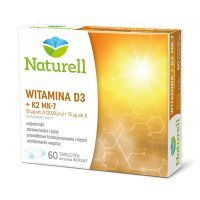 Naturell, Witamina D3 (2000j.m.) + K2 MK-7 (75mcg), 60 tabletek do ssania