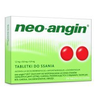 Neo-Angin z cukrem (1,2mg+0,6mg+5,9mg), 24 tabletki do ssania