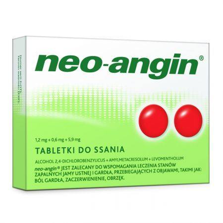 Neo-Angin z cukrem (1,2mg+0,6mg+5,9mg), 36 tabletek do ssania