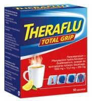 Theraflu Total Grip (1000mg+12,2mg+200mg), proszek, 10 saszetek KRÓTKA DATA 07/2021