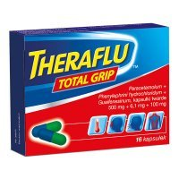Theraflu Total Grip (500mg+6,1mg+100mg), 16 kapsułek