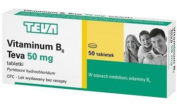 Vitaminum B6 50mg, Teva, 50 tabletek